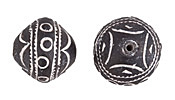 African Trade Clay Patterned Spindle Whorl Bead 22-24mm