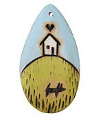 Summer Wind Art House on a Hill Wood Pendant 29x54mm