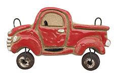 Gaea Ceramic Red Vintage Truck Pendant 70x40mm