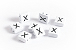 "White Enamel 2-Hole Tile Square Bead w/ Letter ""X"" 8mm"