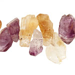 Amethyst and Citrine Rough Nugget Drop 7-12x15-30mm