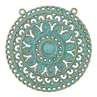 Zola Elements Patina Green Brass Medallion Filigree Focal 53mm