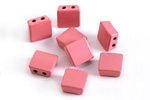 Rose Enamel 2-Hole Tile Square Bead 8mm