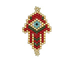 Crimson Hand Woven Hamsa Evil Eye Focal 20x32mm