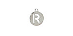"""Stainless Steel Initial Coin Charm """"R"""" 10x12mm"""