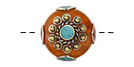 Tibetan Resin Amber & White Brass w/ Turquoise Center Coin Bead 25mm