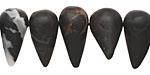 Black Zebra Agate (matte) Horn 8-13x19-26mm