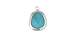 Green Turquoise Faceted Crystal in Silver (plated) Textured Bezel Freeform Drop 12x16mm