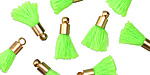 Neon Green w/ Gold (plated) Bead Cap Tiny Thread Tassel 14mm
