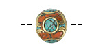 Tibetan Brass w/ Orange Coral & Turquoise Mosaic Rondelle Bead 14x17mm
