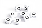 "White Enamel 2-Hole Tile Square Bead w/ Letter ""O"" 8mm"