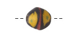 African Powder Glass Black w/ Saffron, Red & Green King Bead 14-16x14-15mm