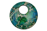 Dark Emerald Impression Jasper Coin Pendant 30mm