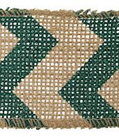 "Green Zigzag 2.5"" Burlap Wire Ribbon"