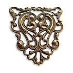 Vintaj Natural Brass Nouveau Crest Filigree 38x40mm