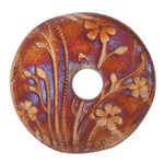 Xaz Raku Stan's Rust Large Flower Coin 44-45mm