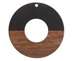 Walnut Wood & Jet Resin Donut Focal 45mm