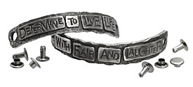 "The Lipstick Ranch Pewter ""Determine To Live Life..."" 2 Piece Cuff Plates w/ Rivets 76-82x11mm"
