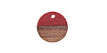 Wood & Cherry Resin Coin Focal 15mm