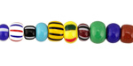 African Trade Beads Multi Glass 4-7x6-9mm