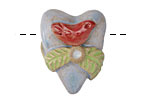Gaea Ceramic 3-D Heart w/ Red Bird 21x28mm