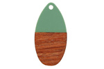 Walnut Wood & Vintage Turquoise Resin Teardrop Focal 16x31mm