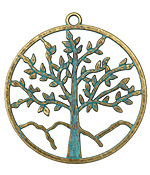 Zola Elements Patina Green Brass Tree of Life Pendant 56x60mm