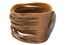 "The Lipstick Ranch Antique Copper Shredded Leather Cuff Bracelet 2""x 9 3/4"""