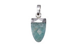Brazil Amazonite Faceted Rounded Point Pendant w/ Silver Finish 10x20mm