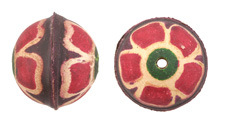 Hand Painted Violet Primrose Leather Round Bead 26-29mm