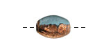Greek Ceramic Raku Metallic Frosted Copper Small Oval Bead 14x7mm