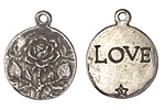 Green Girl Pewter Rose Love Pendant 24x28mm