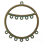 Patina Green Brass Chandelier 2-Tier Hoop 41x47mm