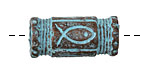 Greek Copper Patina Ichthus Barrel (large hole) 30x15mm