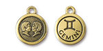 TierraCast Antique Gold (plated) Round Gemini Charm 15x18mm