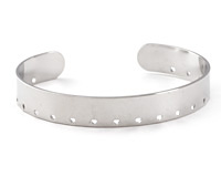 Silver Finish Stitchable Cuff Bracelet 60x10mm