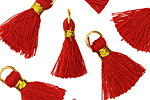 Red w/ Gold Binding & Jump Ring Thread Tassel 18mm