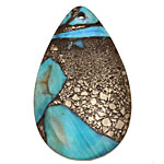 Blue Agate & Pyrite Teardrop Pendant 30x48mm