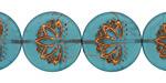 Czech Glass Caribbean Blue (matte) Bronzed Lotus Coin 18mm