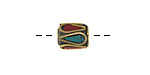 Tibetan Brass Barrel Bead w/ Turquoise & Coral Mosaic Plumes 10-12x8-9mm