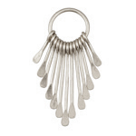 Zola Elements Antique Silver Finish Long Teardrop Graduated Paddle Set on Ring 16x46mm