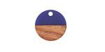 Walnut Wood & Indigo Resin Coin Focal 15mm