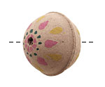 Hand Painted Pink & Yellow Dahlia Leather Round Bead 26-29mm