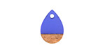 Wood & Sapphire Resin Teardrop Focal 11x17mm
