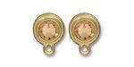 TierraCast Gold (plated) Stepped Bezel Ear Post w/ Light Colorado Topaz Crystal 12x17mm