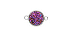 Metallic Solar Crystal Druzy Coin Link in Silver Finish Bezel 16x11mm