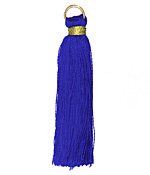 Royal Blue w/ Gold Binding & Jump Ring Thread Tassel 50mm