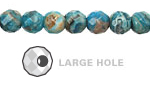 Larimar Blue Crazy Lace Agate Faceted Round (Large Hole) 8mm