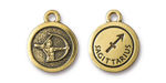TierraCast Antique Gold (plated) Round Sagittarius Charm 15x18mm