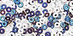 Czech Glass Opaque White Iris Blue 1/2 O-Bead 1x4mm